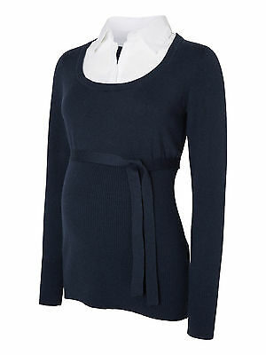 Mamalious Knitted Maternity Jumper Shirt Size 8 - 16 Blue