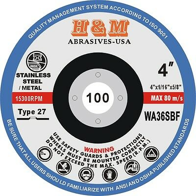 """25 4"""" x 1/16"""" x 5/8"""" Cutting Wheels Cut off Blad Disc for Angle Grinder Type 27"""