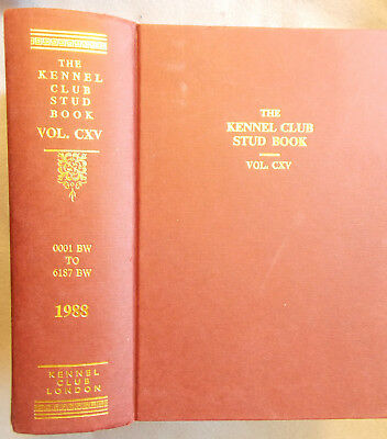 THE KENNEL CLUB STUD BOOK FOR 1987 Volume CXV with Errata published in 1988