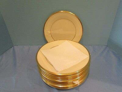 "Lenox China Eternal 8 1/8"" Salads Plates Mint Cond.1965 Ivory & Gold!"
