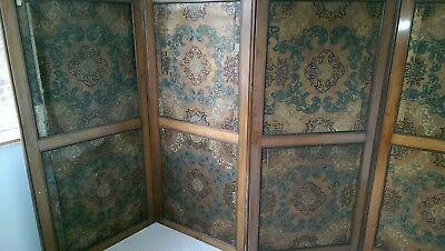 Antique Victorian Mahogany 4 Panel Dressing Screen/room Divider , Damask Panels