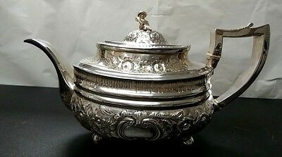 """Antique Ca:1810 Ornate Sterling Silver Teapot English 6"""" X10.5"""" China Man Finial"""