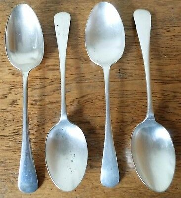 ANTIQUE VINTAGE 1900-20s Set of 4 SHEFFIELD SILVER PLATED TABLE SERVING SPOONS