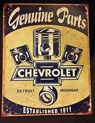 Chevrolet Tin Sign Chevy Genuine Parts Pistons Pre-Drilled Holes Metal 13 x 16in