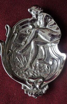 Old Art Nouveau Alphonse Mucha Nickel Plated Cast Brass Ashtray Coin Tray