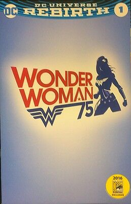 Wonder Woman Rebirth #1 -Rare 2016 Sdcc Variant With WB Tour Cover.