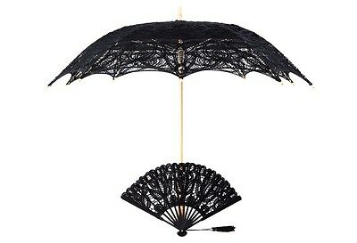 The 1 For U Victorian Lace Parasol and Fan Set in Black