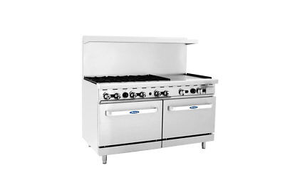 """Atosa ATO-6B24G Commercial 6 Burner Gas Range w/ 24"""" Griddle (Right) & 2 Ovens"""