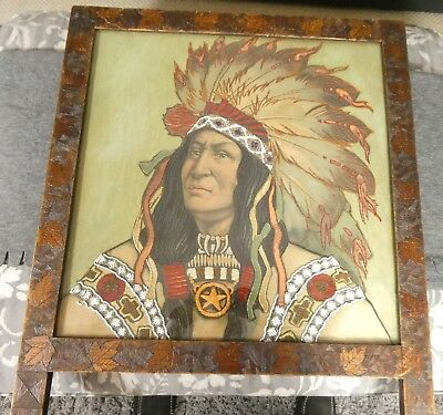 Rare American Native Indian Beadwork & Embroidery On Silk Indian Chief 1893