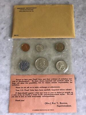 1961-P U.s. 5-Coin Silver Proof Set In Original Envelope, Sealed In Mint Pack
