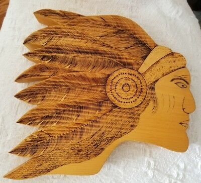Awesome Carved/ Etched Wooden Indian Head With Headdress Signed And Dated