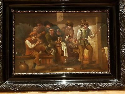 18th Century Oil Painting on Wood - Taverne Scene after David Teniers