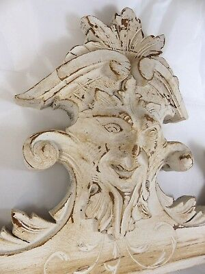 "Antique French Hand Carved Black Forest Pediment 26"" Figural grotesque 19th RARE"