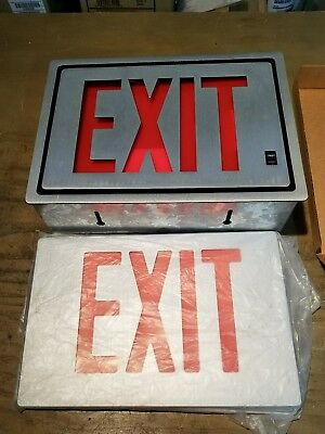 Lithonia Signature Series RS1R120 Emergency Metal Sign Red Lettering 1J-1854-C1