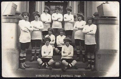 Rare Yorkshire Ladies Football Team, Ex Munitions Workers, Hull 1920 Rppc.