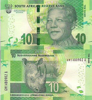 SOUTH AFRICA 10 Rand Banknote World Paper Money Currency Pick p138b 2015 Rhino