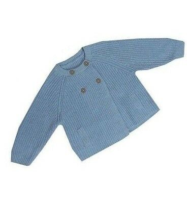 Ex M&S Baby Boys Blue Cotton Cardigan Jacket Knitwear 0 3 6 9 12 18 24 Months