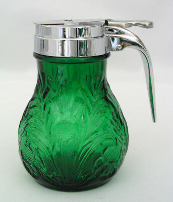 "Mosser Glass Inverted Thistle - 4 3/4"" Syrup Dispenser - Emerald Green - Excell"