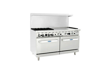 """Atosa ATO-4B36G Commercial 4 Burner Gas Range w/ 36"""" Griddle (Right) & 2 Ovens"""