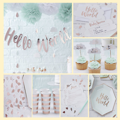 "Baby Shower Decoration And Tableware ""hello World""  - Gender Neutral Baby Shower"