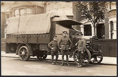 Ww1 Soldiers Posed With Military Lorry, A.s.c. Good Close Up, Rppc.