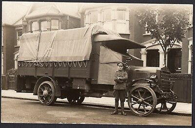 Ww1 Soldier Posed With Military Lorry, A.s.c. Good Close Up, Rppc.