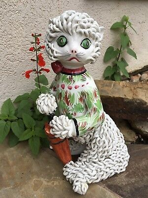 """Vintage Porcelain Ceramic Spaghetti Kitty Cat Figurine 11.25"""" Made in Italy"""