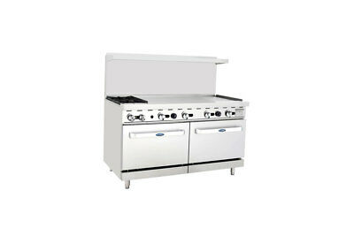 """Atosa ATO-2B48G  Commercial 2 Burner Gas Range w/ 48"""" Griddle (Right) & 2 Ovens"""