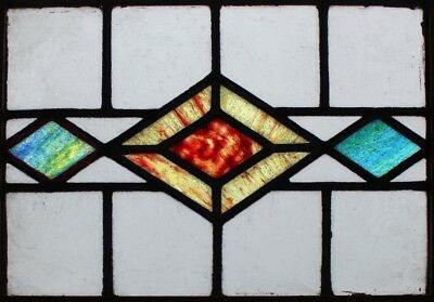 Art Deco Pair English Stained Glass Windows