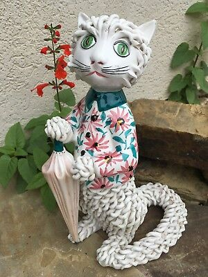 """Vintage Porcelain Ceramic Spaghetti Kitty Cat Figurine 10.5"""" Made in Italy"""