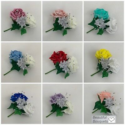 double buttonholes corsage wedding flower bouquets ivory pink purple rose groom