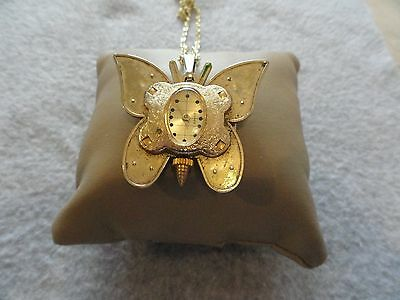 """Vintage Wind Up Swiss Made Zonex """"Butterfly"""" Shaped Necklace Pendant Watch"""