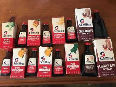 8 Vintage Schilling Extracts Chocolate/mint/orange/banana/pineapple/peppermint
