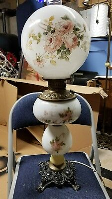 Antique GWTW Gone with the Wind Converted Oil Lamp Hand Painted Floral