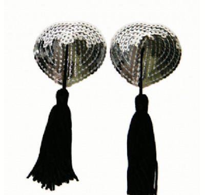 """""""Silver Heart"""" sequin pasties with tassels nipple covers burlesque boudoir"""