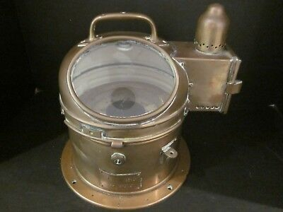 Old Vintage Ship Brass Binnacle Patt 183 Compass No Oil Lamp Boat Nautical
