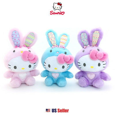 """Sanrio Hello Kitty Easter Bunny 5"""" Fluffy Bean Plush Doll Toy with Pink Bow 1pc"""
