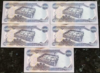 Lot Of (5) 5,000 New Iraqi Dinar Uncirculated Note/Currency