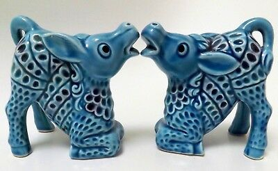 Pair of Scandinavian Blue Ceramic Bitossi era Kneeling Horses