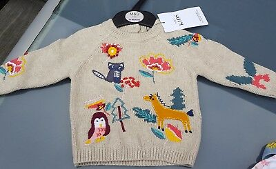 Marks and Spencer Baby Girls Embroidered Jumper 3-6 Months NEW BNWT