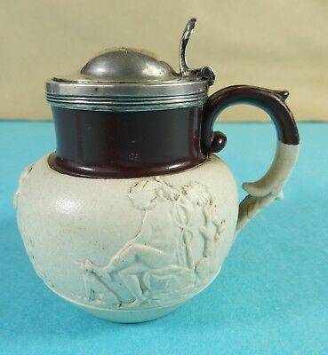 Early Victorian Sterling Silver Doulton Pottery Mustard Pot Charles Lias 1839