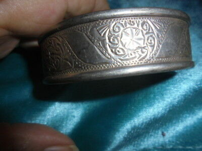 Moroccan Jewelry,old Sterling Berber Tooled Bangle W Sun Swirls,xtra Wide!!
