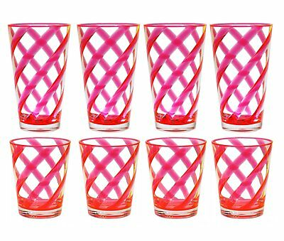 QG 16 & 22oz Neon Pink Helix Stripes Acrylic Iced Tea Cup Glass Tumbler Set of 8