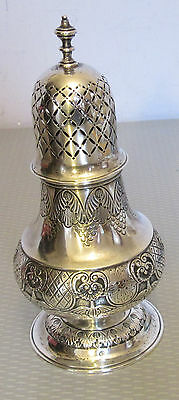 """antique Anglo Indian STERLING SILVER MUFFINEER sugar spice shaker 6.5"""" 179g"""