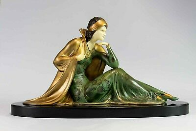 1920/1930 Statue Sculpture Chryselephantine Art Deco By Menneville. Signed