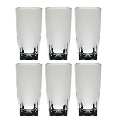26 oz Smoke Grey Acrylic Plastic Glass Iced Tea Cup Square Base Tumbler Set of 6