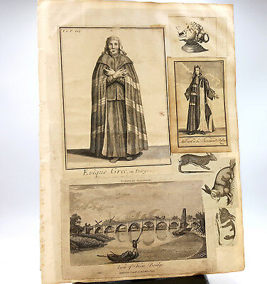 Late 18th century Topographical Architectural and Portrait etchings scrap page
