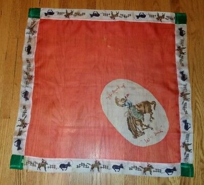 "Vintage 40's 1940's Cowboy Western Rodeo "" The Round Up""  Silk  Scarf"