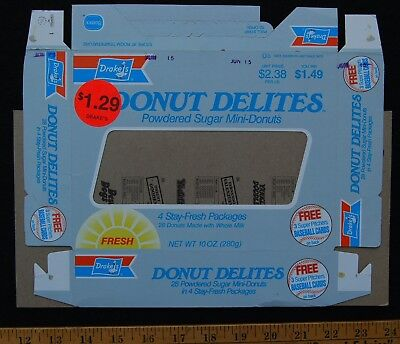 [ 1980s DRAKE'S Snack Cakes - DONUTS Box - Vintage Food Packaging ]