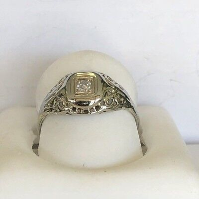 Vintage Antique Art Deco .05 Diamond Engagement Ring in 14k White Gold